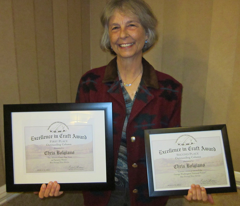 Two of Chris's columns won first and second prize in the 2015 Virginia Outdoor Writers' Association Excellence in Craft contest.