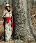 Smaller Gallery Image: Preparing to hug a large, old white oak near home in 2020.